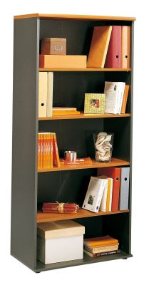 Modern Jazz Wide Bookcase With Alder Finish Shelves And Charcoal Carcass