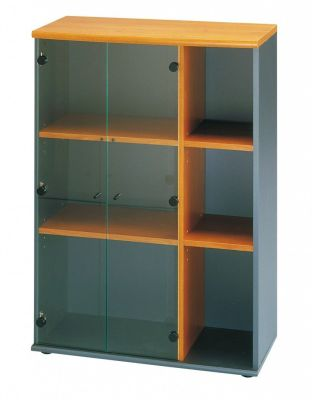 Jazz Bookcase With Clear Glass Doors With Shelves And Top In A Warm Alder Finish
