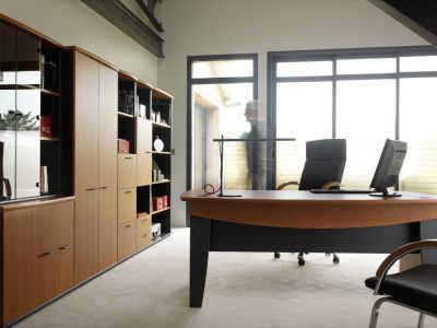Modern Jazz Office Storage And Executive Desk In A Alder Finish