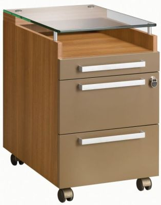 Executive Silver Three Drawer Pedestal In A Walnut Finish With Bronze Covers And Tempered 10mm Glass Top