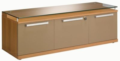 Stylish Silver Bench Style Credenza Storage Unit With Filing Drawer In A Walnut Finish With Bronze Doors