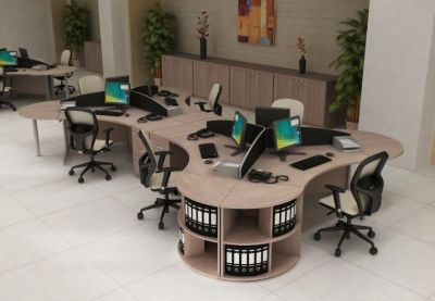 Spacious Office Using Avalon Range Furniture With Stylish Office Chairs In Cream And Black
