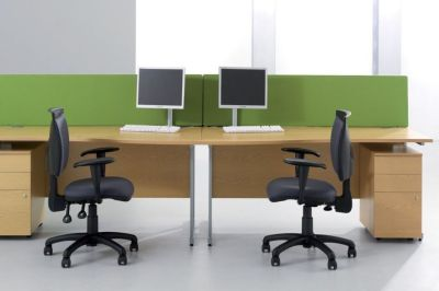 Avalon Office Cantilever Desks In Beech With Office Chairs