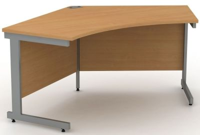 Avalon Ergonomic Pentagon Computer Desk With Heavy Duty Cantilever Frame In Beech