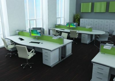 Modern Avalon Office Set Up With Clean White Wave Fronted Desks, Chairs And Pedestal Units With Desk Partitions