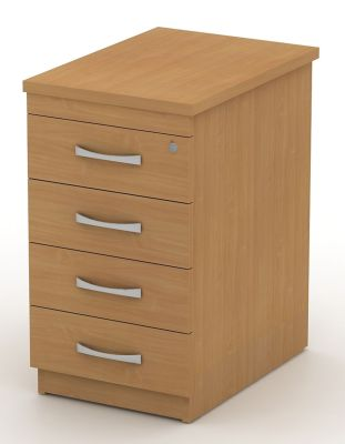 Avalon Four Drawer Pedestal In Beech With Designer Bow Handles, Fits Beside Your Desk Extending Your Worksurface And Giving You Convienent Office Storage