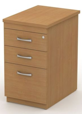 Avalon Deep Three Drawer Pedestal In Beech Extends Work Top And Provides Convenient Storage