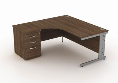 Avalon Walnut Corner Desk With Cable Riser And Three Drawer Pedestal