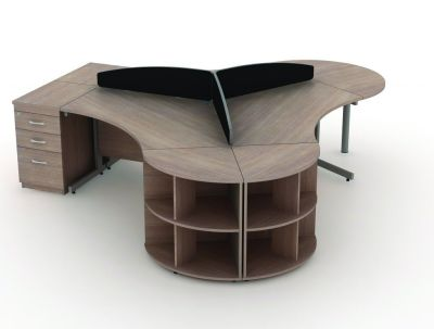 Avalon Cantilever Computer Desks With Black Partitions And Three Drawer Pedestal In Walnut