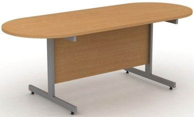 Avalon Double D End Confernce Table In Beech With Steel Cantilever Legs And Modesty Panel