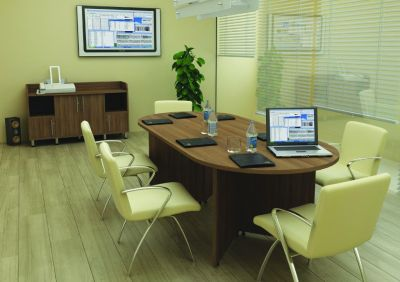 Meeting Room With Avalon Conference Table In Walnut And Cream Meeting Chairs