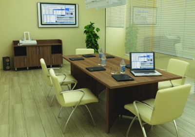 Avalon Styled Office Using Rectangle Meeting Table In Walnut With Stylish Chairs