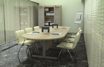 Meeting Room Using Avalon Modular Conference Table In Cherry, Comprising Two D Ends With Attractive Meeting Chairs