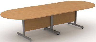Avalon Modular Boardroom Table, Two D Sections With Modesty Panel In Beech