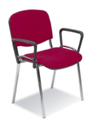 Stakka Conference Chair Arms, Easy Clip On Design Shown On Red Meeting Chair