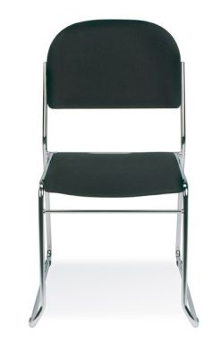 Vesta Conference Chair With Chrome Skid Base Frame And Black Upholstery