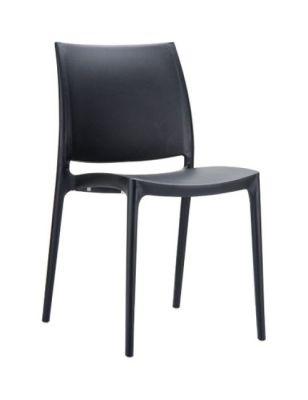 Maya Minimalist General Purpose Chair In Black Polypropylene Stackable
