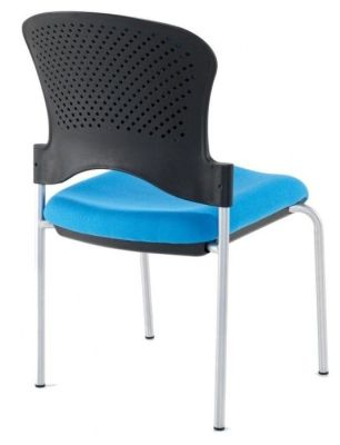 Sonata Contemporary Conference Chair With Perforated Black Polypropylene Back And Blue Fabric Seat