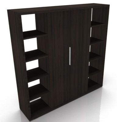 Odessa Designer Bookcase With Wood Finish Doors In Brown Oak-ML