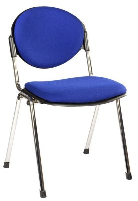 Bradley Meeting Chair With Blue Upholstery, Stylish Chrome Frame, Stackable