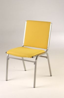 Galaxy Meeting Chair With Large Yellow Upholstered Back And Seat, Silver Frame, Stackable And Fire Resistant