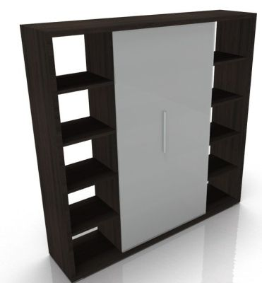 Odessa Designer Bookcase With Glass Finish Doors In Brown Oak