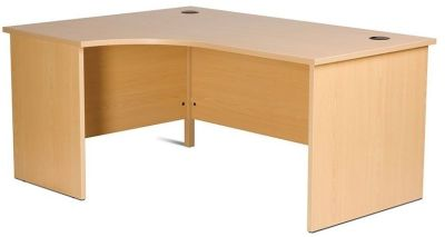 GX Left Hand Corner Desk With Integral Modesty Panel And Side Panels, Floor Levellers In Beech