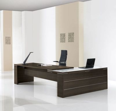 Odessa Executive Workstation With Offset Glass Return In Brown-Oak