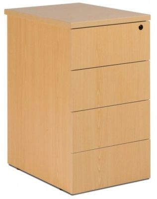GX 4 Drawer Pedestal With Four Shallow Drawers For Convenient Storage In Beech To Sit Beside Computer Desk