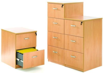 GX Wooden Filing Cabinets In Beech, Three Heights With Steel Runners For A4 And Foolscap Files