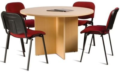 GX Circular Meeting Table In Beech With Four Conference Chairs In Red