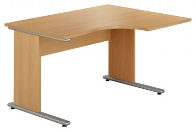 Taurus Compact Corner Desk For Ergonomic Use In Beech With Side Panel Legs And Silver Metal Feet