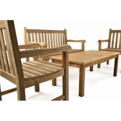 Welbec Outdoor Teak Coffee Set Side View