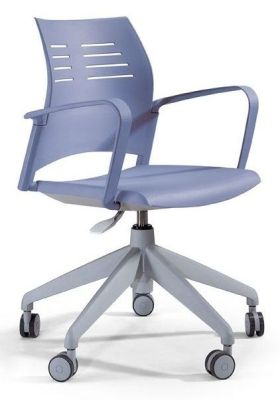 Spacio Computer Swivel Chair With Designer Stiletto Base Ergonomic Shaped Back Rest With Air Slits In Light Blue