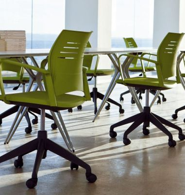 Boardroom With Spacio Designer Operator Chairs In Green With Gas Height Adjustment And Castors