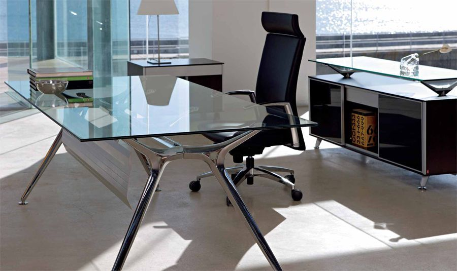 modern office using designer arkitek glass desk with silver frame and floor levellers - Designer Glass Desk
