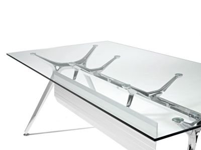 Arkitek Clear Glass Desk With Moulded Aluminium Frame In Silver