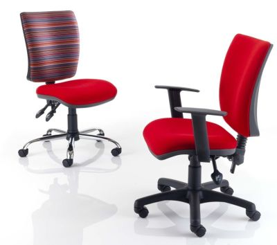 Icon Plus Operator Chairs In Stylish Red Fabric Black Plastic Legs Or Silver Metal With Arms And Without Arms