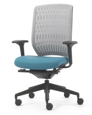 Evolve Swivel Chair With Grey Back And Blue Seat And Die Cast Aluminium Frame Making It Stronger