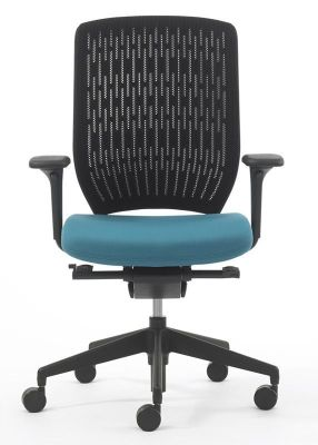 Evolve Elegant Task Chair With Polymer Membrane Back With Mesh Stretched Over It And Upholstered Seat In Blue