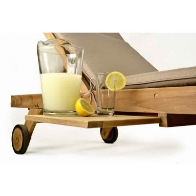 Georgie Teak Sun Lounger Pull Out Shelf