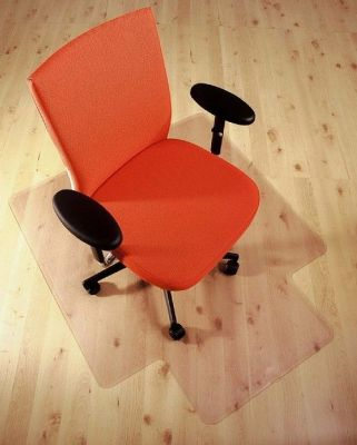 Orange Office Chair On Cleartex PVC Mat To Protect The Floor