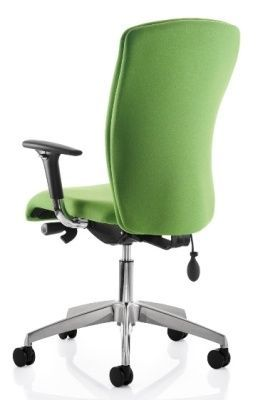 Poise Executive Office Chair In Green Fabric With A Large Back And Silver Base