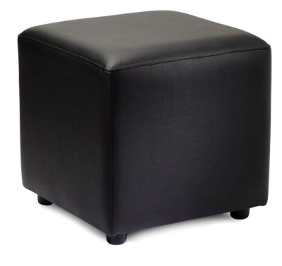 Zapster Black Faux Leather Cube Stool