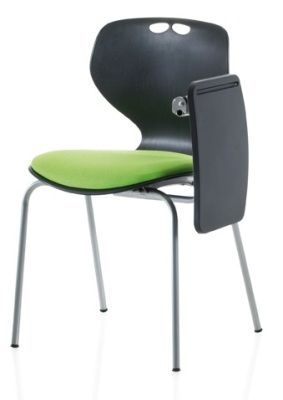 Matal Poly Multi Purpose Chair With Writing Tablet And Green Padded Seat Pad