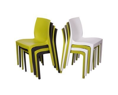 Presto Contemporary Poly Chairs Multi Colour Angle Stacks From The Side