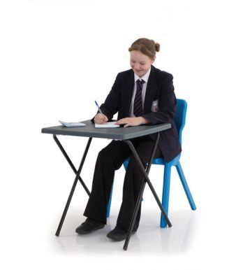 Titan Poly Folding Examination Table In Charcoal With Student