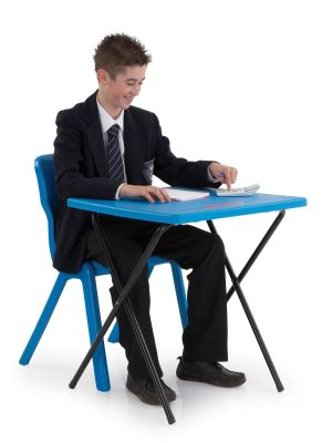 Titan Poly Folding Examination Table In Blue With Student