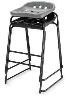 Pepperpot Laboratory Stools Stack In Black