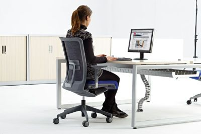 Office Set Up With Ergonomic Mesh Chair